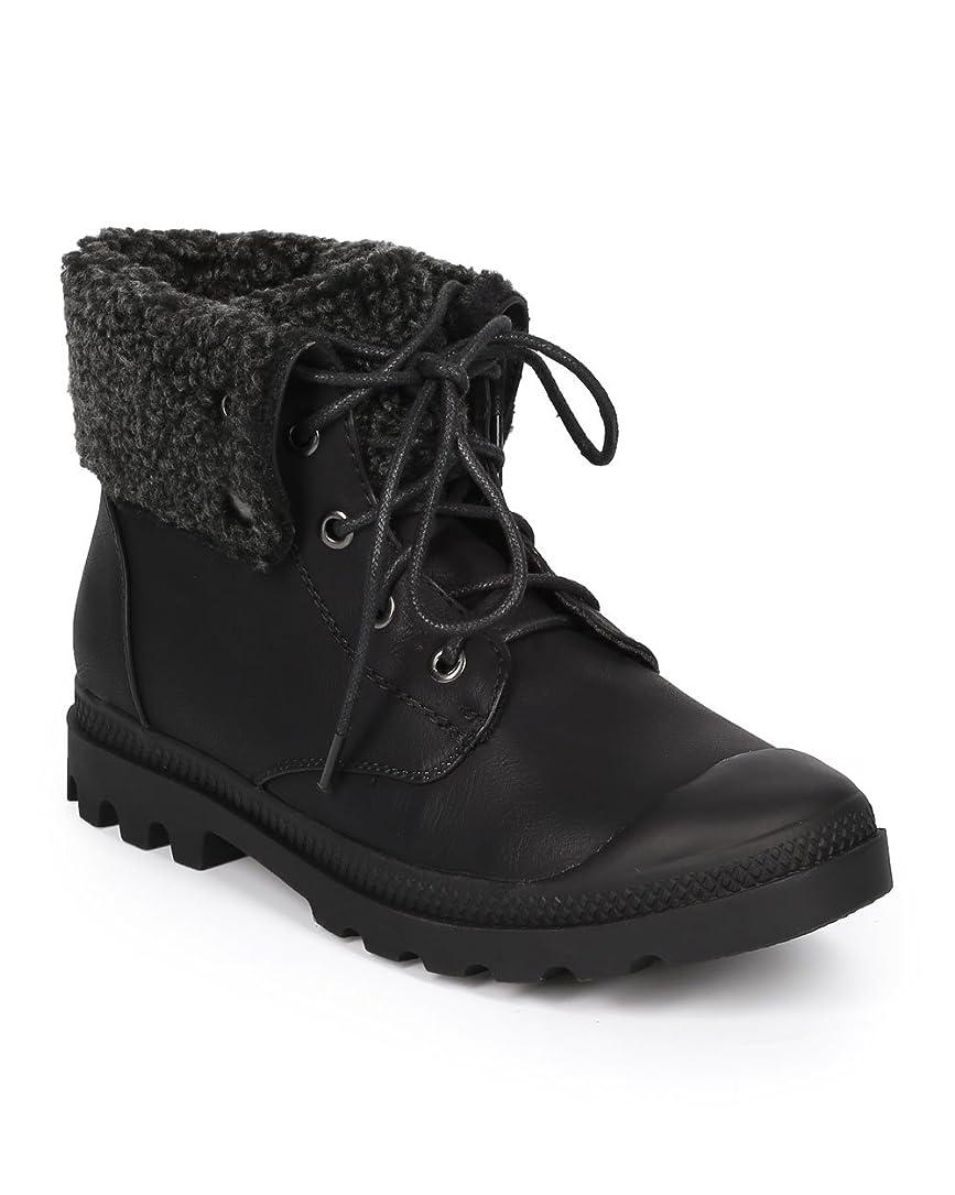 誤解する概してエンディング[Nature Breeze] ci92レディース合成皮革Shearling Folded Cuff Cap Toe Combat Bootie?–?Black Leatherette