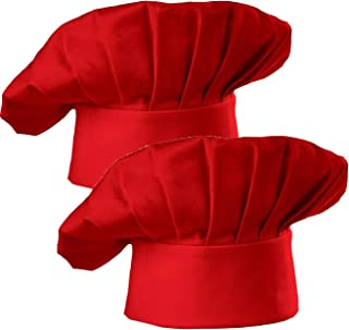 Hyzrz Chef Hat Set of 2 Adult Adjustable Elastic Baker Kitchen Cooking Chef Cap, Red