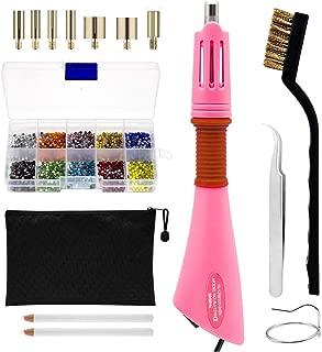 Rhinestone Hotfix Applicator Full Set - DIY Rhinestone Setter Kit Include7 Different Sizes Tips, Tweezers & Brush Cleaning kit, 2 Pencils, and Hot-Fix Crystal Rhinestones (10 Colors Rhinestone)