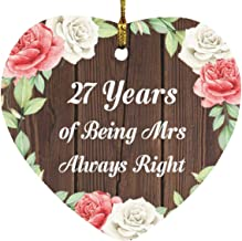 27th Anniversary 27 Years of Being Mrs Always Right - Heart Wood Ornament A Christmas Tree Hanging Decor - for Wife Husban...