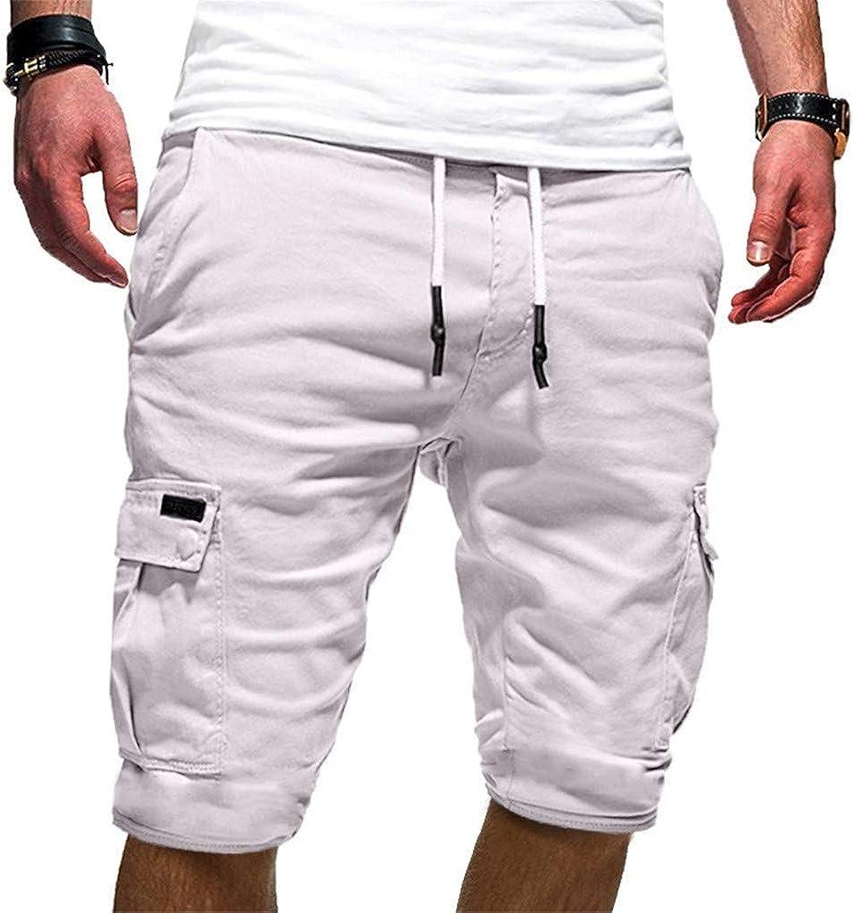 Juner Men's Solid Cargo Shorts Drawstring Elastic Outdoor Sports Tactical Shorts Large Pockets Dungarees