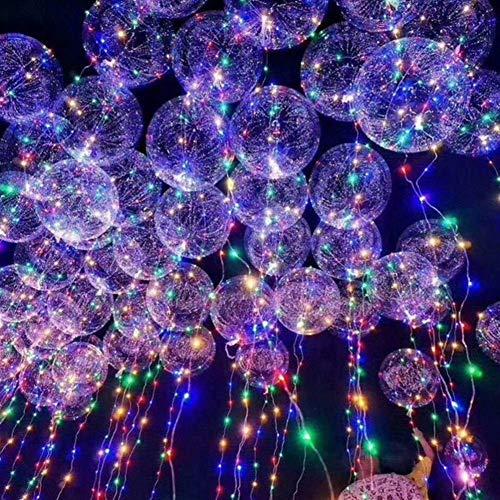 WQF Globo Luminoso Globo LED Globo de Aire LED Cadena de Luces Burbuja Globos de Helio Juguete para niños Decoración del Banquete de Boda Globos 10 Piezas 20 Pulgadas (Color: Paquete d