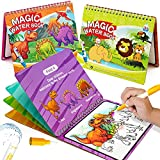 hapray Magic Paint with Water Coloring Books for Toddler, Reusable Water Reveal Activity Books for Kid, Doodle Game for Girl & Boy for 3-5 Year Old ( Dinosaur & Animal )