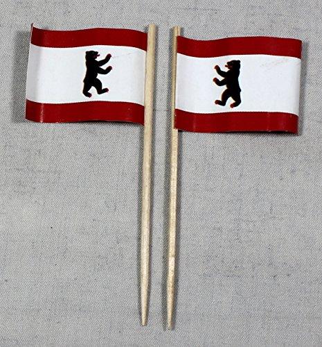 Buddel-Bini Party-Picker Flagge Berlin Papierfähnchen in Profiqualität 50 Stück 8 cm Offsetdruck Riesenauswahl aus eigener Herstellung