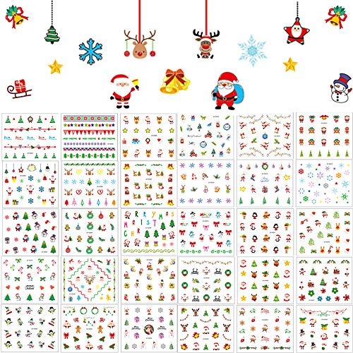 Christmas Nail Art Stickers 30 Sheets, 3D Self-Adhesive Cartoon Nail Decals Waterproof Santa Claus Xmas Tree Elk Bell Snowflake Snowman for Girls Kids Women DIY Christmas Nail Decorations