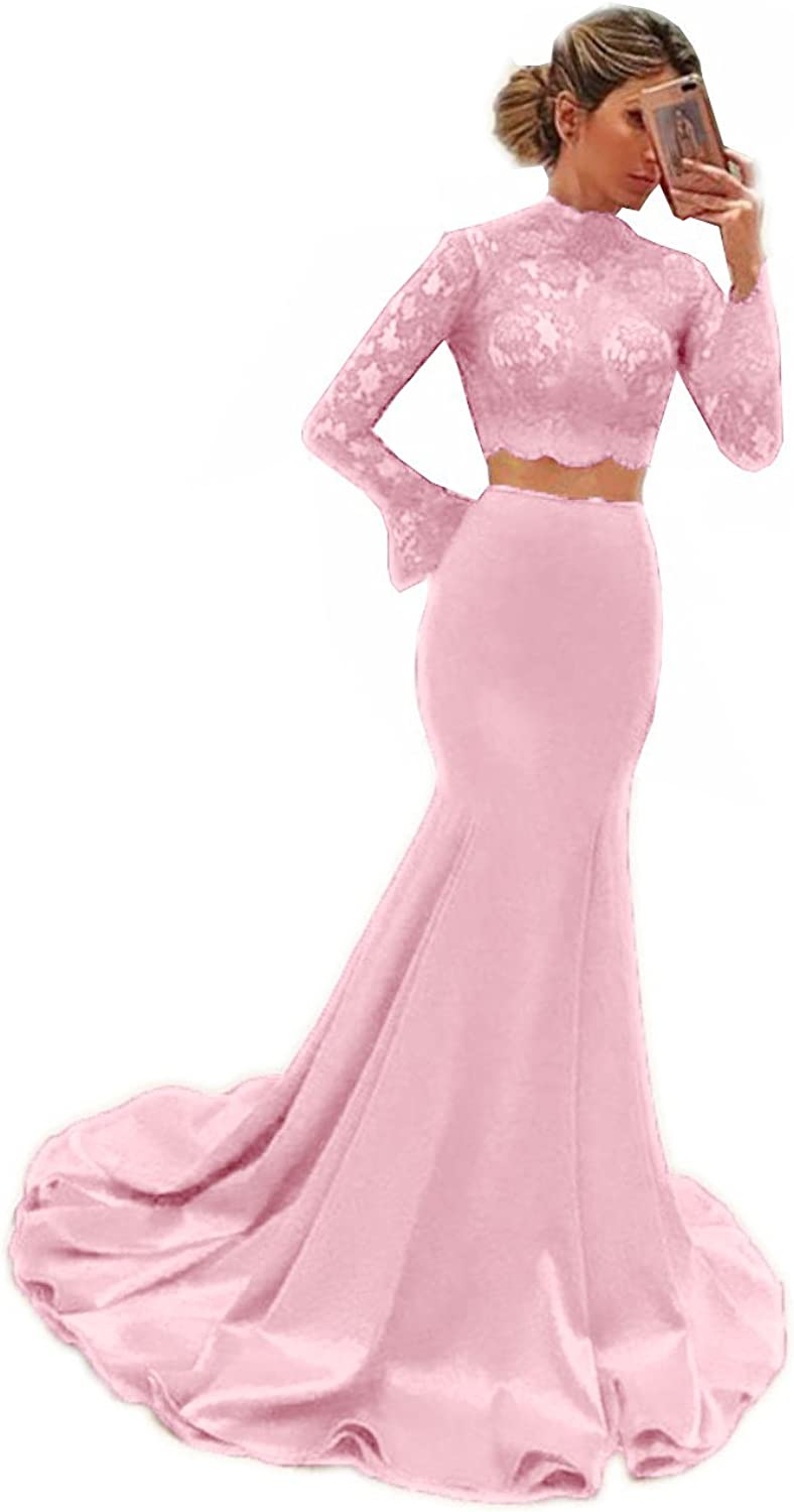 MariRobe Women's Two Piece Prom Gown Mermaid Long Sleeve High Neck For Graduation