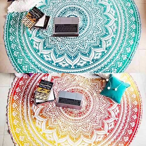 Set of 2 Beach Blanket Mandala Tapestry Hippie Indian Mandala Round Picnic Table Cover Hippy Spread Boho Gypsy Cotton Tablecloth Beach Towel Meditation Rug Circle Yoga Mat- 72 Inches, Yellow and Green