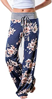 👍ONLY TOP👍 Women's Comfy Casual Pajama Pants Floral Print Drawstring Palazzo Lounge Pants Wide Leg