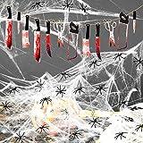 Eyscoco Halloween Grusel Deko Set, Horror Banner Blutige Messer, Tür Dekostoff mit 60g Spinnweben und 30 Spinnen Horror Für Halloween Party Dekoration von Tisch, Haus und Garten
