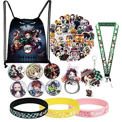 Demon Slayer Manga Merch Set de regalo, incluye bolsa de cordón, pegatinas, pulseras, cordón, alfileres de botón, soporte para anillo de teléfono, llavero para fans japoneses del anime