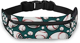 CENHOME Running Belt Baseball Softball Pattern Sports Waist Pack Fanny Runners Bag Sports Hiking Adjustable Workout Walking Fitness Exercise Gym Pouch