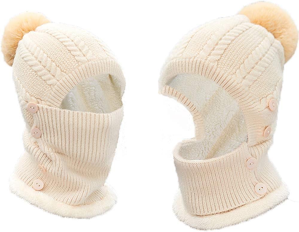 Darleen W Womens Winter Knit Hat Fleece Lined Beanie Hat Mask Set, Ski Cap with Pom Neck Warmer Beige, 1 Pack