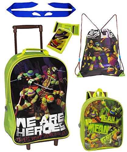 alles-meine.de GmbH 5 TLG. Reise Set: Trolley + Rucksack + Geldbörse + Turnbeutel + Ninja Band - Teenage Mutant Ninja Turtles - Kindertrolley - für Kinder / Jungen - Trolly mit R..