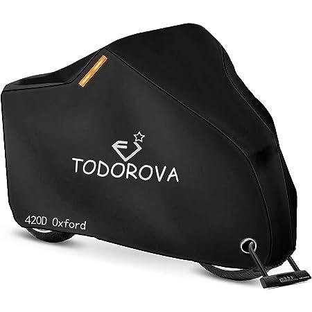 TODOROVA 自転車カバー 防水 420Dオックス製生地 厚手 自転車 カバー 風飛び防止 50UVカット 盗難防止 サイクルカバー 最大サポート29インチ 収納袋付き 軽量