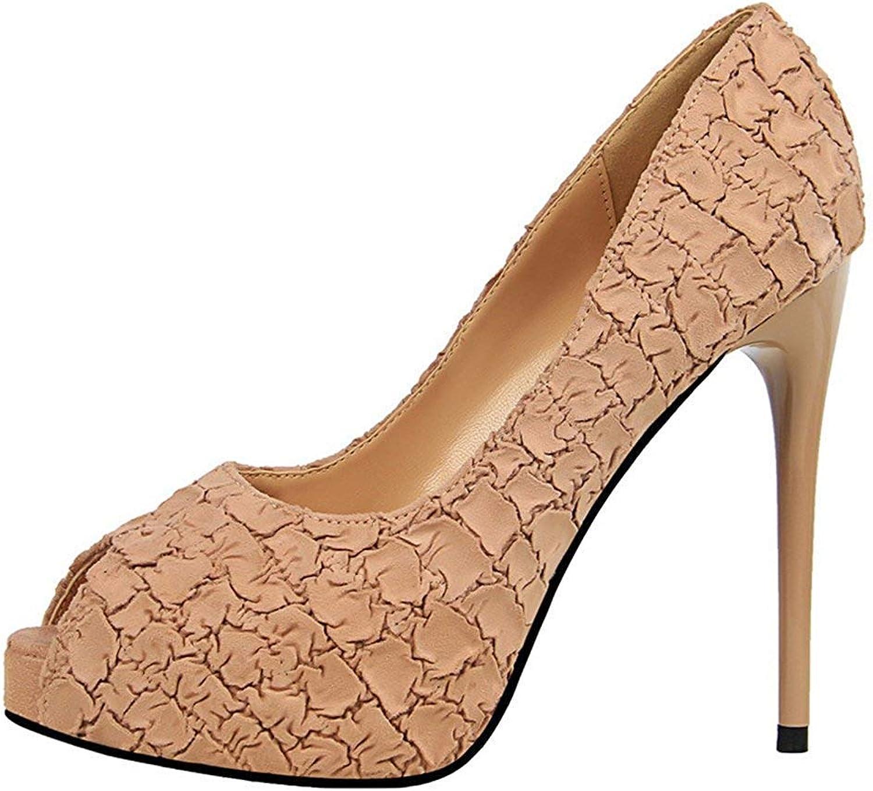 Women's Unique Low Cut Extreme High Stiletto Heel Dressy Slip On Platform Peep Toe Pumps shoes