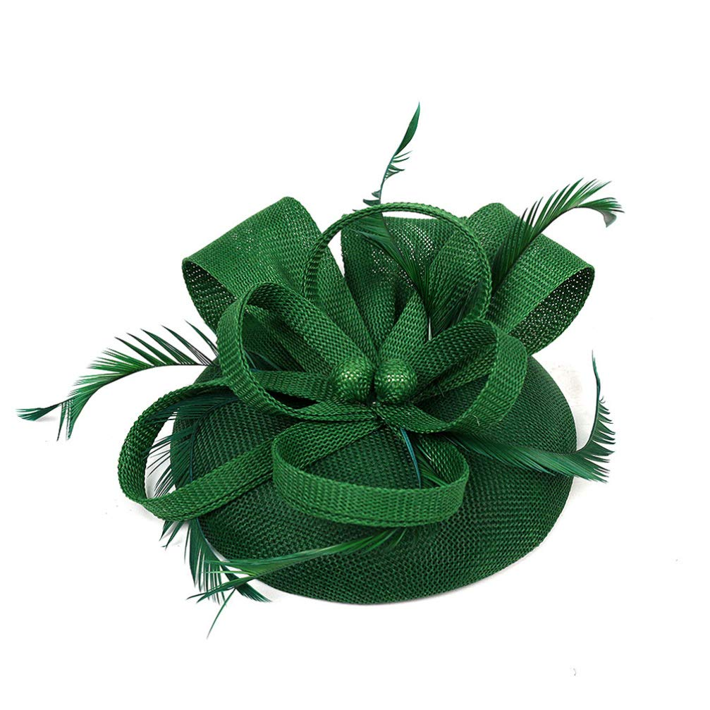 Beaupretty Fascinator Hats Derby Headband Hats Hair Clip Tea Party Headpiece Bridal Headwear for Cocktail Tea Party (Dark Green)