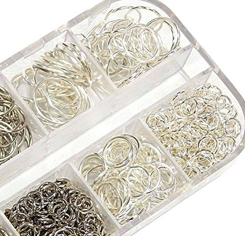 1000 anelli di collegamento con occhielli, in argento, 3 mm, 8 mm, 10 mm, 12 mm x 0,7 mm, anelli aperti, accessori per collane, gioielli fai da te M83
