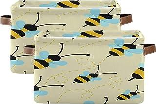 Tropicallife F17 Lot de 2 paniers de rangement pliables en toile avec poignée pour décoration de placard, chambre d'enfan...