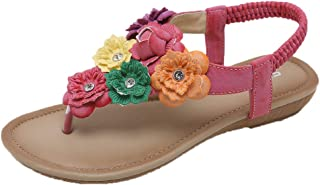 Voberry Ethnic Women's Sandals Fashion Bohemian Flowers Flats Comfortable Beach Shoes