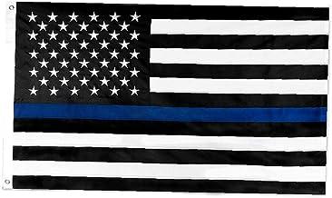 fedsjuihyg Delgada línea Azul de la Bandera de 3x5 pies Nylon Banderas Bordadas Estrellas Cosido Rayas Blue Line EE.UU. Banner para Oficiales de policía y aplicación de la Ley