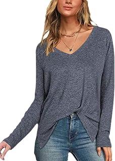 GUOCAI Women Solid Long Sleeve V-Neck Tops Slit Tee T-shirt Blouse