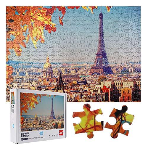 Rompecabezas 1000 Piezas, Puzzle Rompecabezas para Niños, Juguete Educativo de Regalo, Decoración para El Hogar, Divertido Juego Familiar para Adolescentes, Regalos para Amigos(Torre Eiffel)