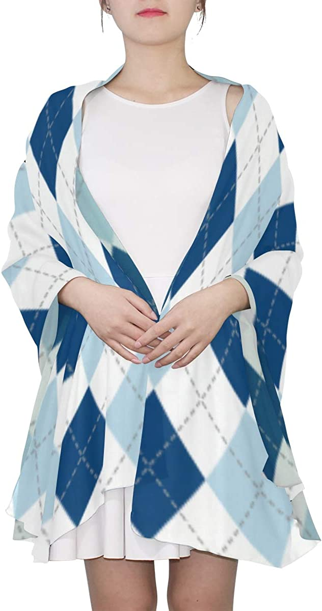Blue Lozenge Checkered Unique Fashion Scarf For Women Lightweight Fashion Fall Winter Print Scarves Shawl Wraps Gifts For Early Spring