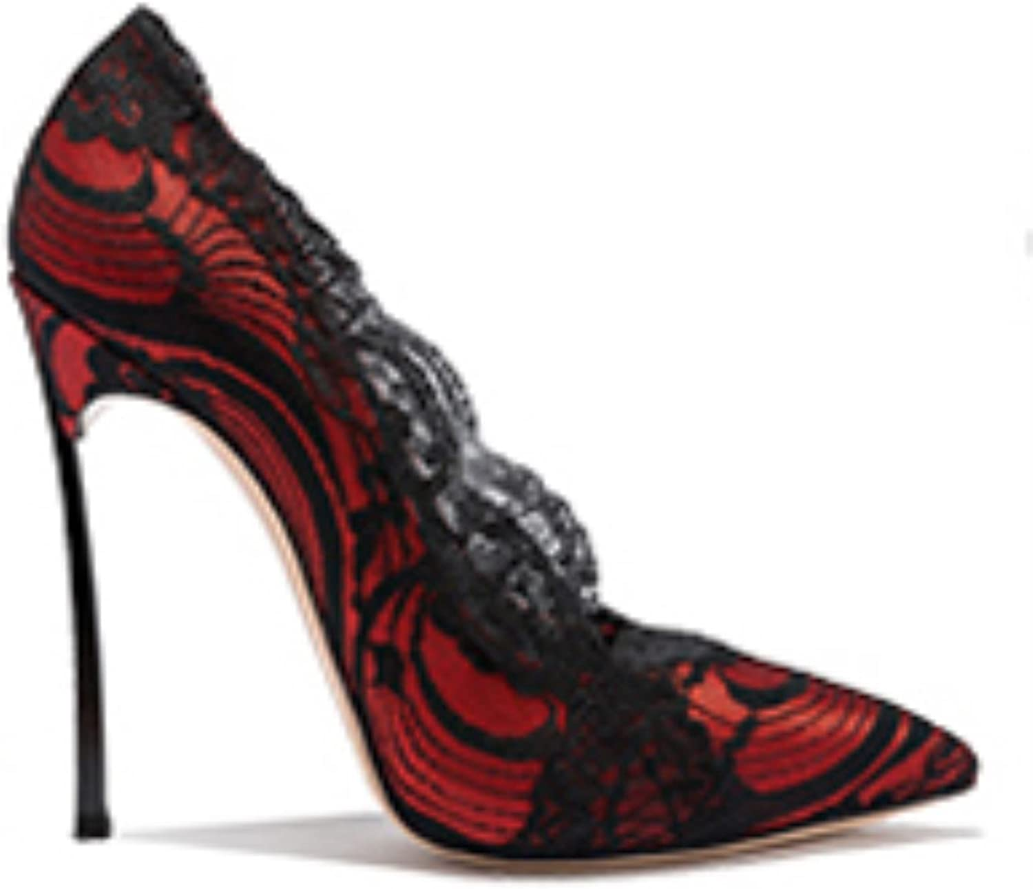 Sexy Lace Flower Pointed Toe Women Pumps 10cm Metal High Heels Night Club Woman Party shoes
