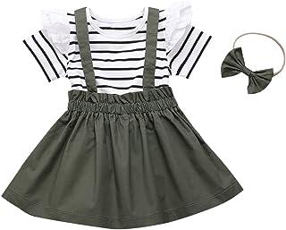 Conjunto de falda de manga corta con volantes y rayas + falda de tirantes + diadema, 3 complementos de ropa para niñas