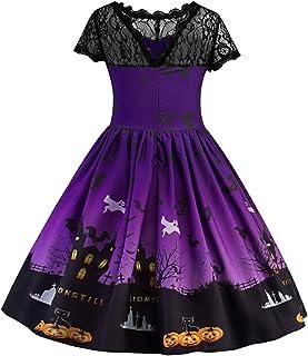Dasongff Kleider Mädchen,Frauen Kurzarm Halloween Retro Lace Vintage Kleid Eine Linie Kürbis Swing Dress Spitze Abend Party Prom Swing Dress Elegante Kleider Prinzessin Kostüm
