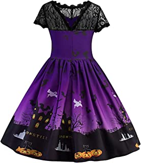 Kids Girl's Halloween Vintage Dress Lace Patchwork Dress Printed Holiday Party Swing Midi Party Dress 4-13 Years