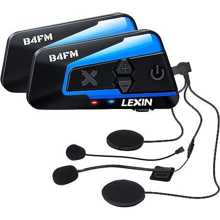 LX-B4FM バイク インカム 4riders 8人同時通話 FMラジオ 音楽共有 Bluetoothインターコム 最大1600m スマホ音楽再生 音声コマンド IP67防水 無線機バイク いんかむ 連続15時間の長時間通話 インカムバイク 2種類マイク 日本語取扱と音声案内 2機セット