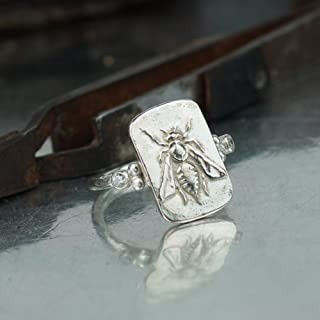 Bee Coin Ring Roman Art Handmade Sterling Silver Handcrafted Women Jewelry Turkish Designer by Omer
