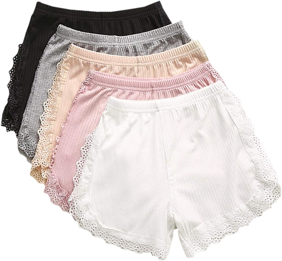 Max 54% OFF Umeyda Girl's Max 47% OFF Ribbed Safty Shorts Years 2-10 with Lace