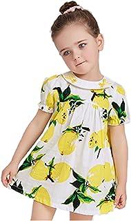 子供 女の子 レモンプリント ワンピース 子供服 ピアノ発表会 スカートドレス 子供ドレス