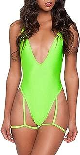 Women Deep V Neck Sexy Garter Belt Bikinis Cross Bandage on Back One Piece Swimsuit Swimwear