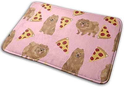 """Pomeranian Dog, Cute Dog Design, Pom Dog, Pizza Food_16802 Doormat Entrance Mat Floor Mat Rug Indoor/Outdoor/Front Door/Bathroom Mats Rubber Non Slip 23.6"""" X 15.8"""""""