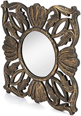 The Urban Store Wood Hand Crafted Square Antique Finished Vanity Wall Mirror for Living Room, 20X20 Inches (Gold)