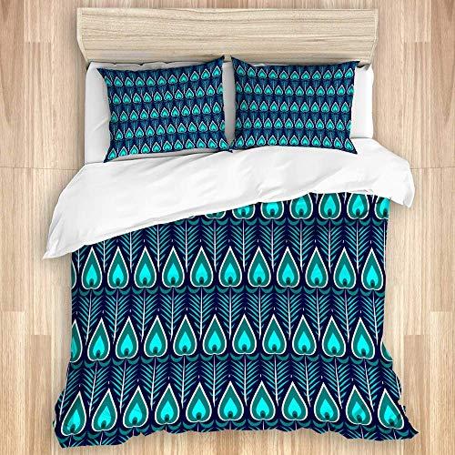 Juego de funda nórdica de 3 piezas, plumas de pavo real geométricas abstractas, juegos de fundas de edredón de microfibra de lujo para dormitorio, colcha con cremallera con 2 fundas de almohada