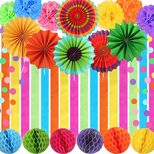 Auihiay 24 Pieces Fiesta Party Decorations Include Crepe Paper Streamers, Paper Fans, Pom Poms Flowers, Honeycomb balls and Circle Dot Garland for Fiesta Birthday Parties, Wedding Decor, Mexican Party