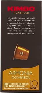 Kimbo Italian Nespresso Compatible Capsules for Espresso (Armonia, 10 Capsules)