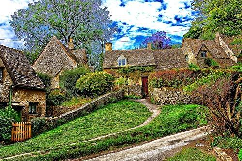 MX-XXUOUO Jigsaw 1000 Piezas para Adultos niños-Inglaterra Cotswold Hills Nature Building-UK Travel souvenirs-27.6