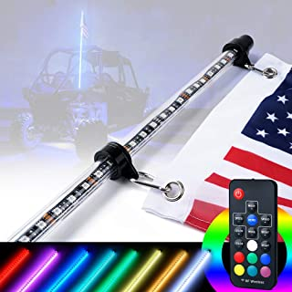 Xprite 4ft (1.2M) LED Whip Lights RF Remote Controlled 20 Colors w/U.S. Flag for Offroad Jeep Can-am Maverick X3 Yamaha Sand Dune Buggy UTV ATV 4X4 Trophy Truck