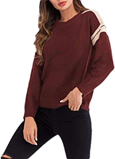 Macondoo Womens Long Sleeve Sweater Crew Neck Color Block Warm Knitted Sweatshirts
