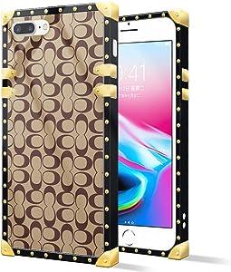 iPhone 8 Plus Case,Luxury Metal Decoration Geometric Circle for iPhone 7 Plus case,Square Soft TPU Bumper Phone Cases for Women Girls iPhone 7 Plus iPhone 8 Plus 5.5-inch Geometric Circle