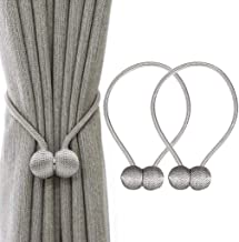 HASTHIP Wall Flower Curtains Hooks Tassels Tiebacks Magnetic Fancy Metal Ring Tieback Accessories (Grey) - Set of 2