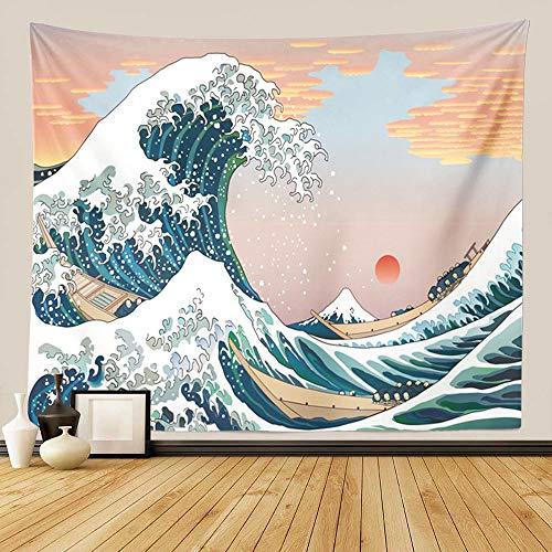 """GUORUI Tapiz de pared para colgar en la pared, gran ola Kanagawa, tapiz de pared con decoración para el hogar, sala de estar, También adecuado como toalla de playa, Wave (L 200x150CM (79""""x59""""))"""