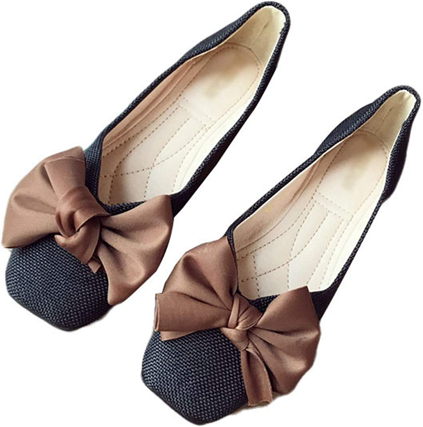 Kyle Walsh Pa Women Ballet Flats shoes Ladies Soft Moccasins Bowknot Slip-on Square Toe