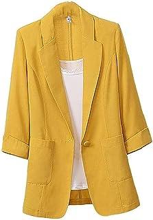 Women's Free Blazers Cotton Linen Blazer Notched Lapel One Button Jacket Suit with Pocket