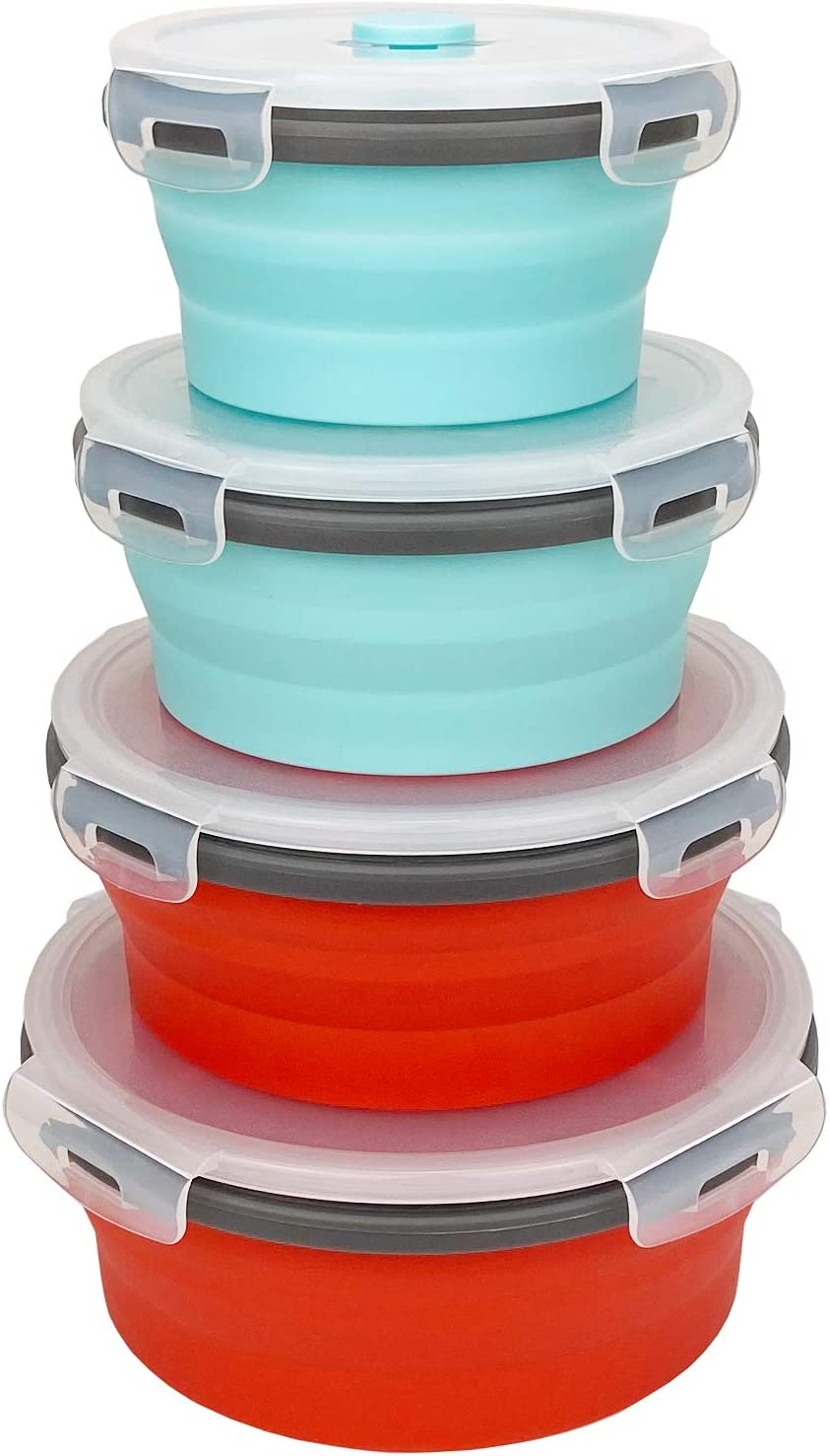 CCyanzi Round Silicone Food Storage Containers with Lids Collapsible Food Containers Collapsible Silicone Bowls Lunch Boxes, for Kitchen and Camping, Leakproof, Microwave and Freezer Safe
